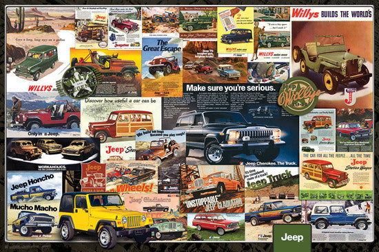 Jeep Vintage Classic Automobile Advertisements Collage Poster - Eurographics Inc.