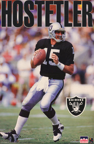Jeff Hostetler Los Angeles Raiders QB Club NFL Football Poster - Starline 1993