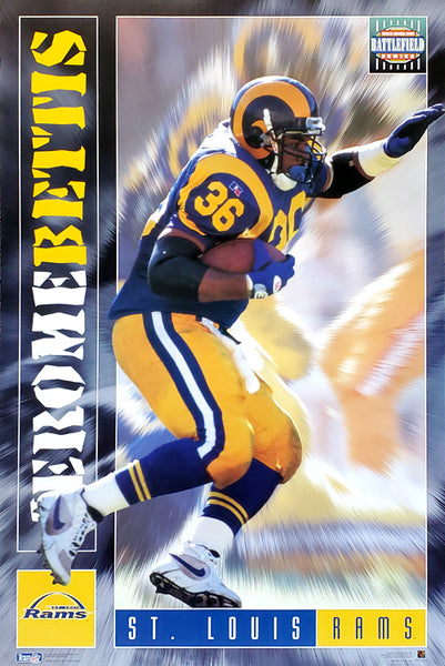 "Jerome Bettis ""Battlefield"" St. Louis Rams NFL Football Action Poster - Costacos 1995"