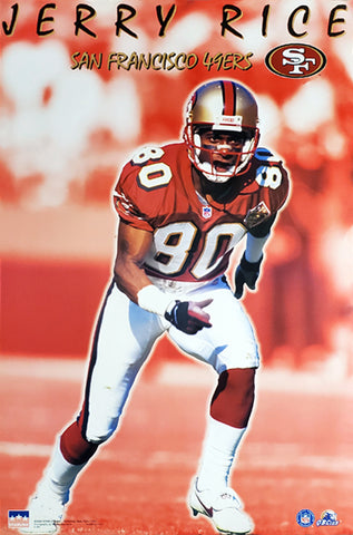 "Jerry Rice ""Going Deep"" San Francisco 49ers NFL Action Poster - Starline 1998"