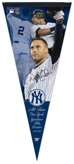 Derek Jeter All-Time Yankee Hit Leader EXTRA-LARGE Premium Pennant