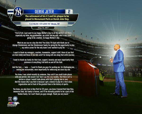 Derek Jeter #2 Retirement Day Speech at Yankee Stadium Premium Poster Print - Photofile 16x20