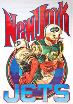 New York Jets NFL Collectors Series Vintage Original Theme Art Poster (1970)
