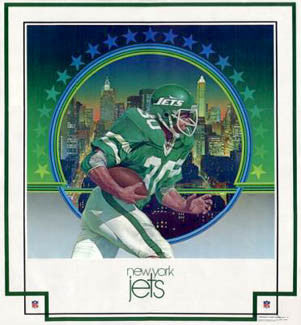 "New York Jets ""Manhattan Green"" NFL Theme Art Poster by Chuck Ren - Damac 1979"