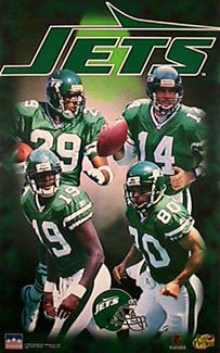"New York Jets ""Big Four"" Poster (Chrebet, Keyshawn, Murrell, O'Donnell) - Starline 1997"