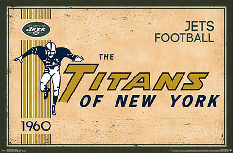 "New York Jets ""Titans of New York"" Retro Logo c.1960 Official NFL Football Team Poster"
