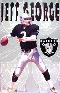 "Jeff George ""Action"" Oakland Raiders NFL Football Poster - Starline 1997"