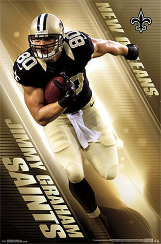 "Jimmy Graham ""Golden Flash"" New Orleans Saints Official NFL Poster - Costacos 2014"