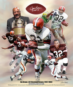"Jim Brown ""Legend"" Cleveland Browns Commemorative Art Collage Poster Print by Wishum Gregory"