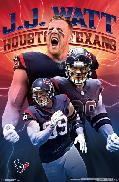 "JJ Watt ""Electric"" Houston Texans NFL Football Wall Poster - Trends International 2019"