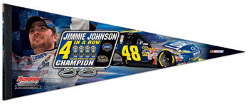 "Jimmie Johnson ""4 In A Row"" Premium Commemorative Pennant"