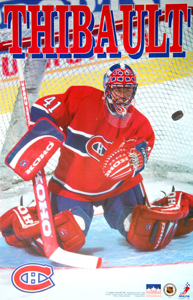 "Jocelyn Thibault ""Stopper"" Montreal Canadiens Goalie NHL Action Poster - Starline 1996"