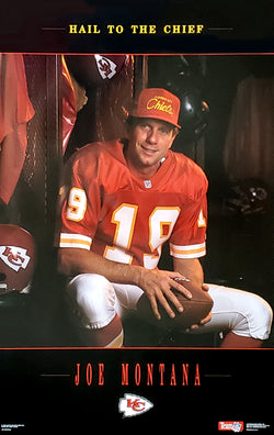 "Joe Montana ""Hail To The Chief"" Kansas City Chiefs  NFL Football Poster - Costacos Brothers 1993"