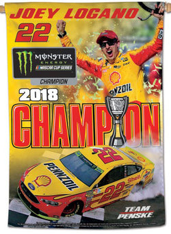 Joey Logano 2018 NASCAR Cup Champion Commemorative 28x40 Vertical Banner - Wincraft Inc.
