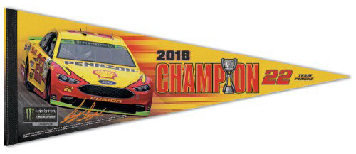 Joey Logano 2018 NASCAR Cup Champion Premium Felt Collector's Pennant - Wincraft Inc.