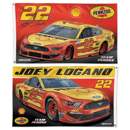 Joey Logano NASCAR Shell #22 Official HUGE 3'x5' Deluxe-Edition 2-Sided Banner FLAG - Wincraft 2020