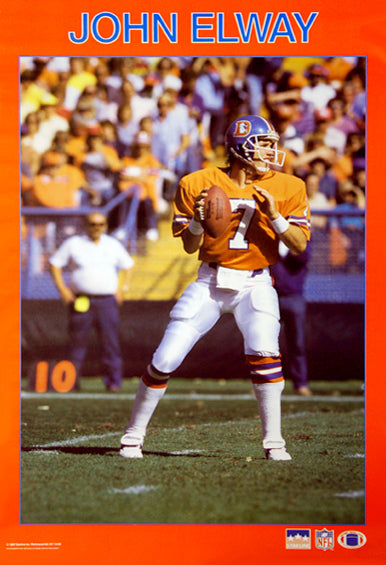 "John Elway ""Superstar"" Denver Broncos NFL Action Poster - Starline Inc. 1987"