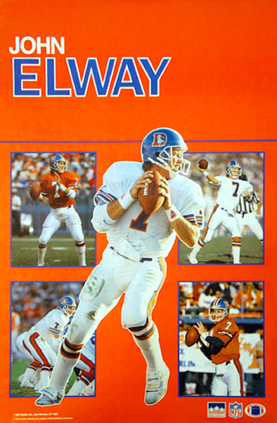 "John Elway ""5-Shot"" Denver Broncos Poster - Starline Inc. 1989"