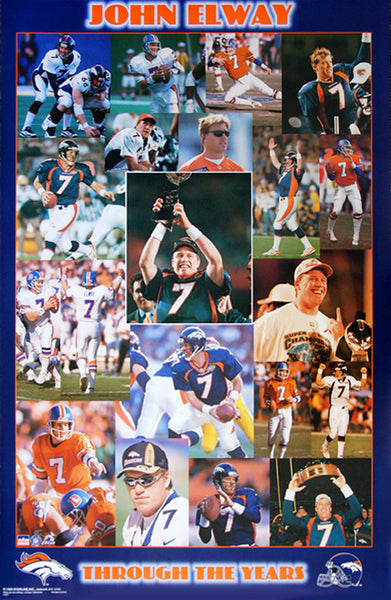 "John Elway ""Through The Years"" Denver Broncos Commemorative Poster - Starline Inc. 1999"