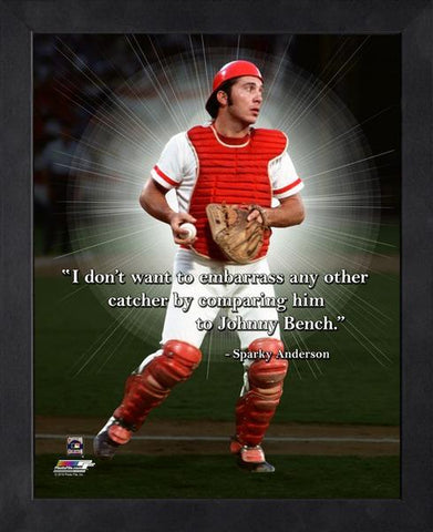 "Johnny Bench ""Incomparable Catcher"" Cincinnati Reds FRAMED 16x20 PRO QUOTES PRINT - Photofile"