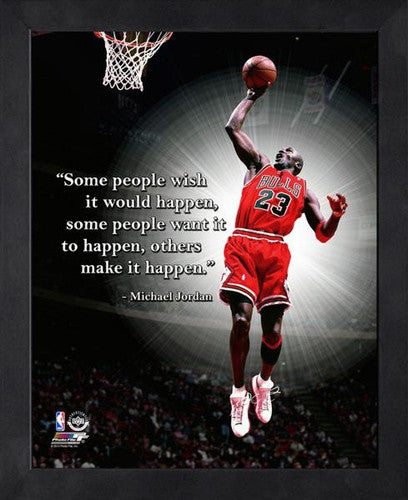 "Michael Jordan ""Make It Happen"" Chicago Bulls FRAMED 16x20 PRO QUOTES PRINT - Photofile"