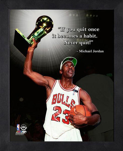 "Michael Jordan ""Never Quit!"" Chicago Bulls FRAMED 16x20 PRO QUOTES PRINT - Photofile"