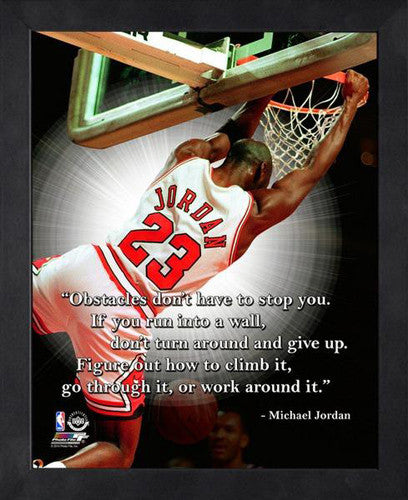 "Michael Jordan ""Obstacles"" Chicago Bulls FRAMED 16x20 PRO QUOTES PRINT - Photofile"