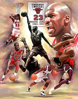 "Michael Jordan ""Fresh Air"" Chicago Bulls Premium Art Print Poster by Wishum Gregory"