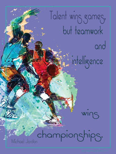 "Basketball ""Teamwork Wins Championships"" (Michael Jordan Quote) Motivational Poster - Jaguar"