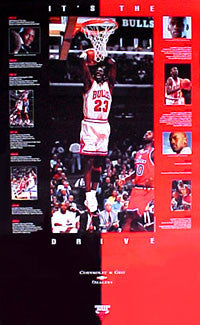"Michael Jordan ""It's The Drive"" Chicago Bulls Poster - Chevy 1996"