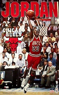 "Michael Jordan ""2-Hand Slam"" Chicago Bulls Action Poster (1995) - Starline Inc."