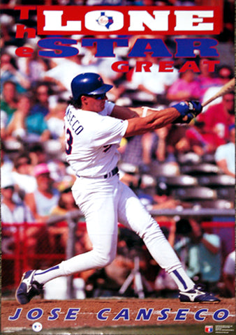 "Jose Canseco ""Lone Star Great"" Texas Rangers Poster - Costacos 1992"