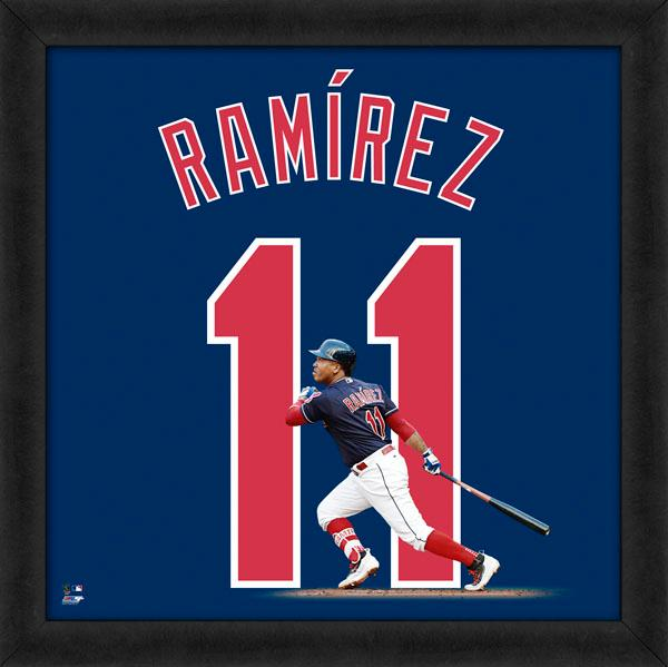"Jose Ramirez ""Number 11"" Cleveland Indians MLB FRAMED 20x20 UNIFRAME PRINT - Photofile"