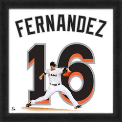 "Jose Fernandez ""Number 16"" Miami Marlins MLB FRAMED 20x20 UNIFRAME PRINT - Photofile"