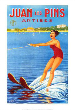 "Waterskiing ""Juan les Pins"" 1930s Vintage Poster Reprint - Clouets (France)"
