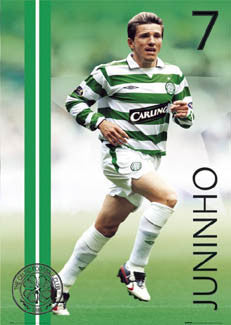 "Paulista Juninho ""Celtic Superstar"" Glasgow Celtic FC Poster - GB 2004"
