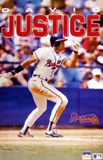 "David Justice ""Classic"" Atlanta Braves Poster - Starline 1991"