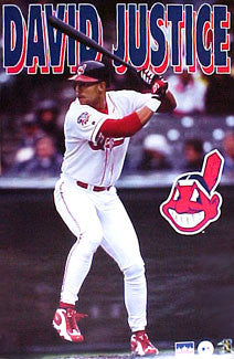 "David Justice ""Indians Action"" Cleveland Indians Poster - Starline 1997"