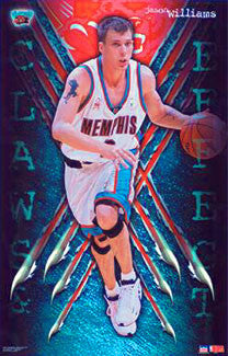"Jason Williams ""Claws and Effect"" Memphis Grizzlies Poster - Starline 2001"
