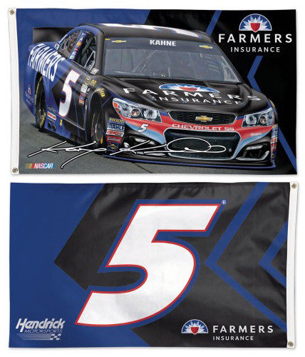Kasey Kahne NASCAR #5 Farmers Chevrolet SS Huge 3' x 5' 2-Sided DELUXE Banner FLAG - Wincraft 2016