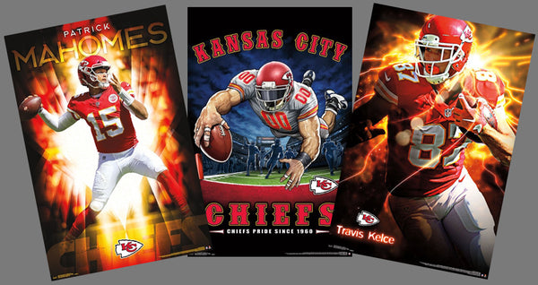 COMBO: Kansas City Chiefs Football 3-Poster Combo Set (Mahomes, Kelce, Chiefs Pride)
