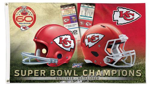 *SHIPS 3/3* Kansas City Chiefs Two-Time Super Bowl Champions Deluxe-Edition 3'x5' FLAG - Wincraft