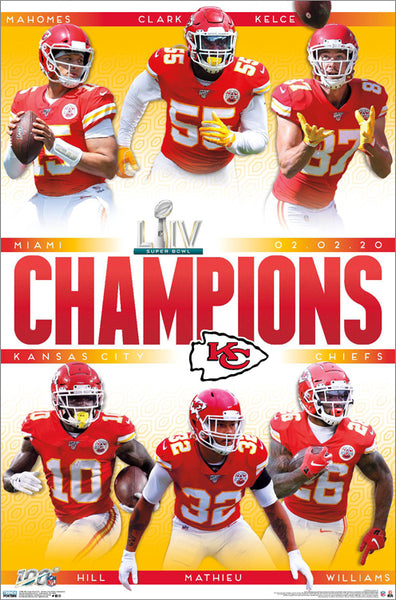 Kansas City Chiefs Super Bowl LIV CHAMPIONS 6-Player Commemorative Poster - Trends 2020