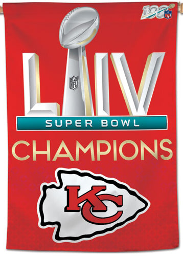 "Kansas City Chiefs SUPER BOWL LIV CHAMPIONS (2020) Official NFL 28"" x 40"" BANNER - Wincraft Inc."