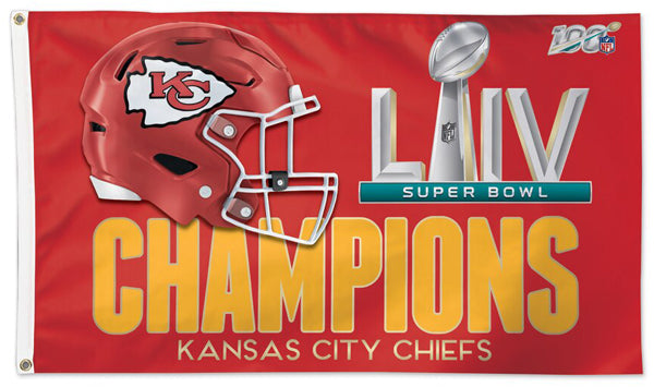 *SHIPS 2/21* Kansas City Chiefs SUPER BOWL LIV (2020) CHAMPIONS Deluxe-Edition 3'x5' FLAG - Wincraft