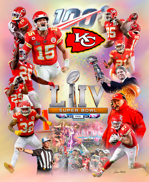 "*SHIPS 2/17* Kansas City Chiefs ""The Chiefs Moment"" Super Bowl LIV (2020) Champions Premium Art Collage Poster - Wishum Gregory"