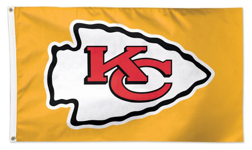 Kansas City Chiefs Official NFL Football Deluxe-Edition 3'x5' Flag (Logo on Yellow) - Wincraft Inc.