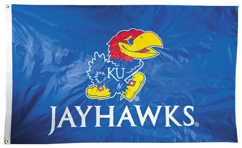 Kansas Jayhawks Official NCAA Premium Nylon Applique 3'x5' Flag - BSI Products Inc.