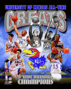 Kansas Jayhawks All-Time Greats (7 Legends, 5 Championships) Premium Poster Print