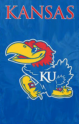Kansas Jayhawks Official NCAA Premium Applique Team Banner Flag - Party Animal
